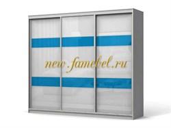 Шкаф купе Колизей 9, цвет белый вставка голубой