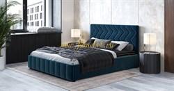 Милана кровать интерьерная с ортопедом 160х200, цвет велюр океан синий