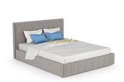 Милана кровать мягкая с ортопедом 160х200, велюр фог светло серый