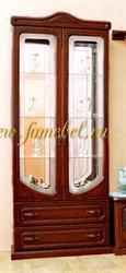 МДФ 1 витрина посудная двухдверная. Стеклянные полки и зеркала.