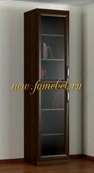 Шкаф книжный 1.2, пенал с полками и стекло-дверями