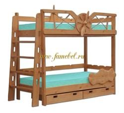 Кровать Самолёт двухъярусная с ящиками