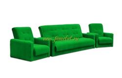 Диван и два кресла Милан Астра зелёный