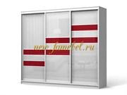 Шкаф купе Колизей 10 цвет белый вставка красный