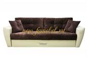 Диван еврокнижка Амстердам Люкс 150 велюр коричневый, кожа бежевый