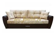 Амстердам Люкс диван еврокнижка 150, велюр бежевый, экокожа коричневый