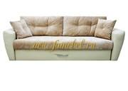 Амстердам Люкс диван еврокнижка 150, велюр бежевый, экокожа бежевый