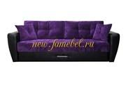 Диван еврокнижка Амстердам Люкс 150 велюр фиолетовый, экокожа черный