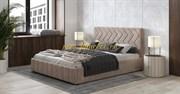 Милана кровать интерьерная с ортопедом 160х200, цвет велюр десерт