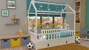 БК-06 кровать детская без ящика, без матраса, массив бука, белая