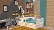 БК-10 кровать детская массив бука 80х160, 90х180