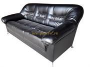 Офисный диван Карелия 3 экокожа черный