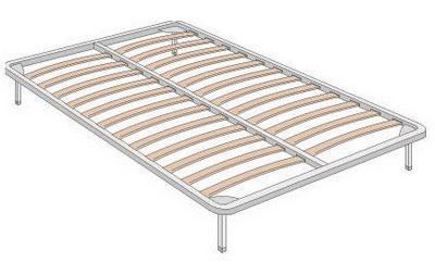 Кровать с основанием для матраца из металлокаркаса с ортопедическими ламелями на металлических ножках