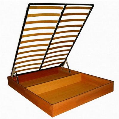 Кровать с основанием для матраца из металлокаркаса с ортопедическими ламелями и подъемным механизмом